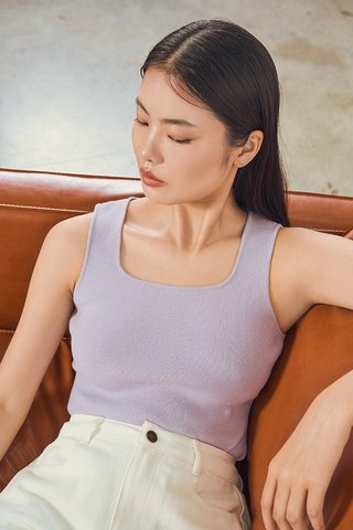Kendie Square Neck Knitted Top in Ash Lilac