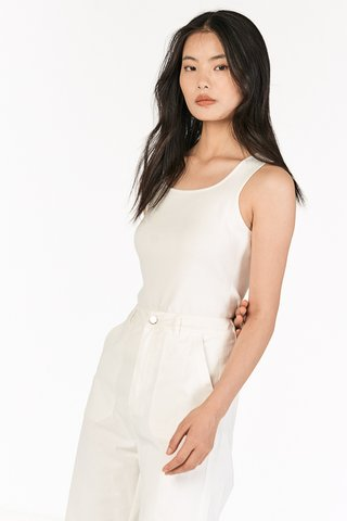 Kendie Square Neck Knitted Top in White