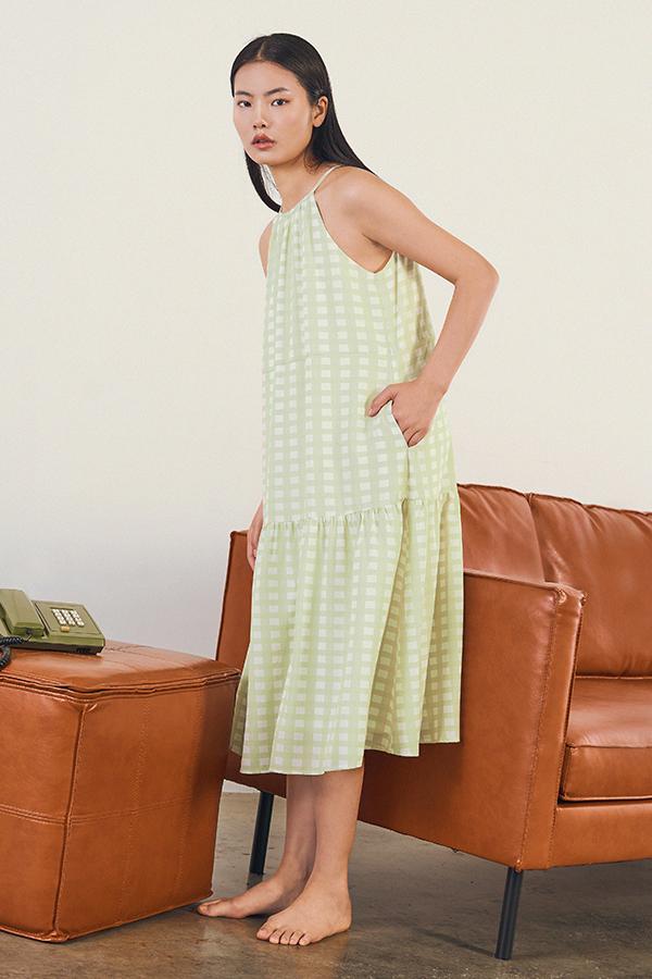 Adorelle Checkered Midi Dress in Apple Green