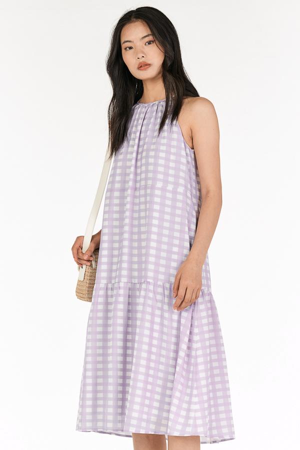Adorelle Checkered Midi Dress in Lilac