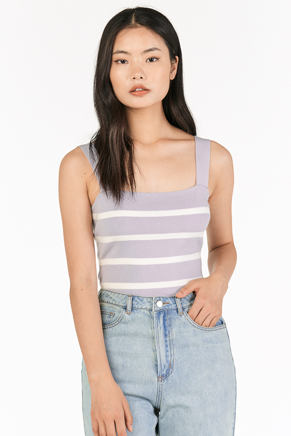 Brea Stripes Knitted Top in Lilac