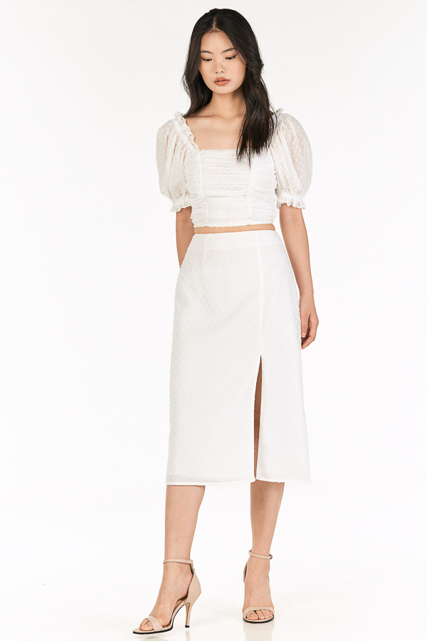 Flenda Dotted Midi Skirt in White