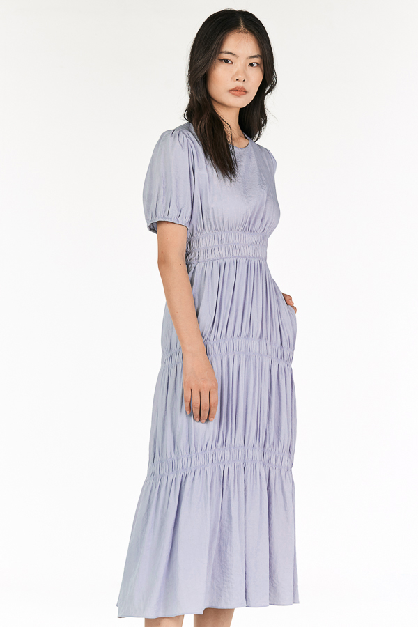 Kayleen Ruched Maxi Dress in Ash Lilac
