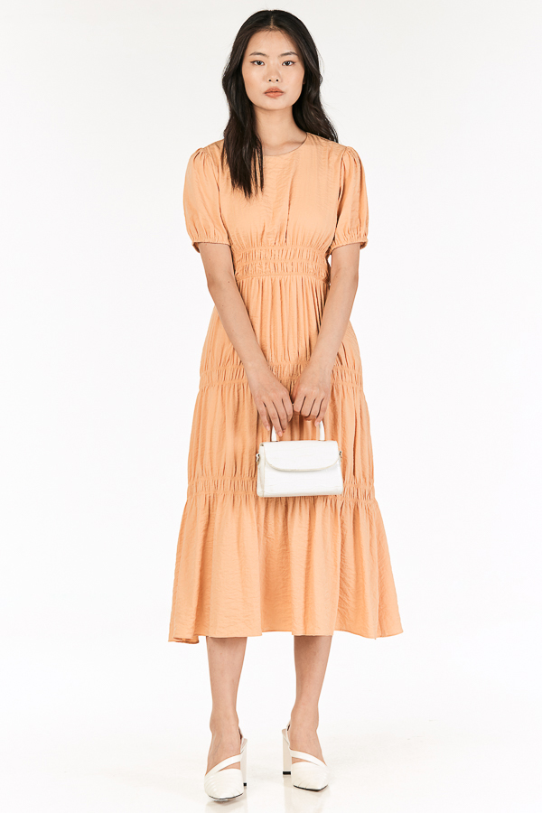 Kayleen Ruched Maxi Dress in Melon