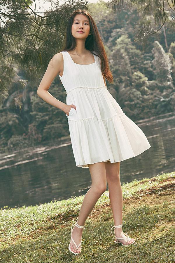 Lola Babydoll Dress in White