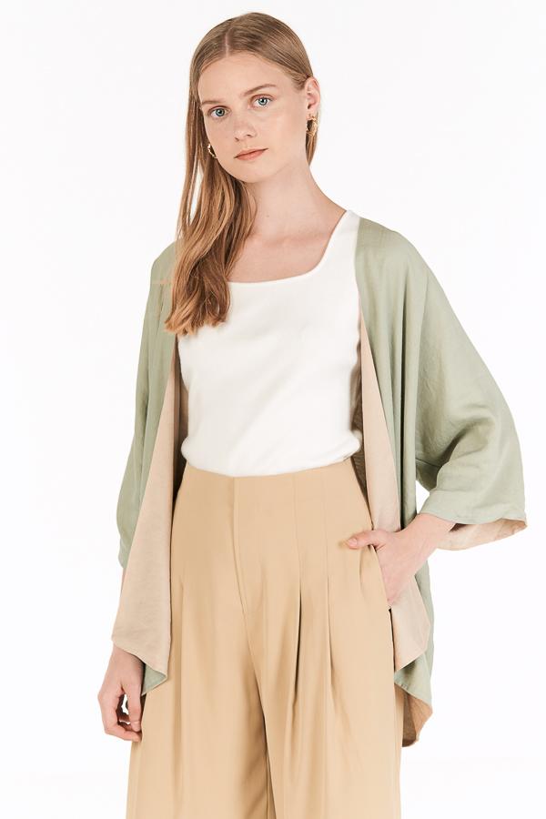 Lyna Reversible Kimono in Sage & Beige