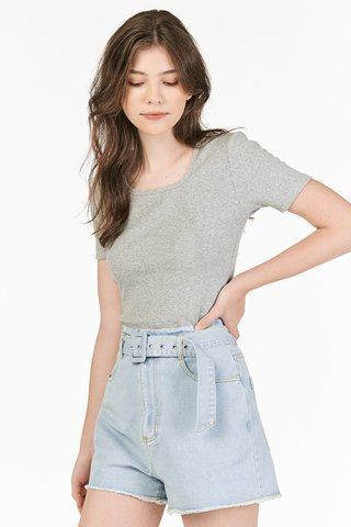 Levin Square Neck Top in Grey