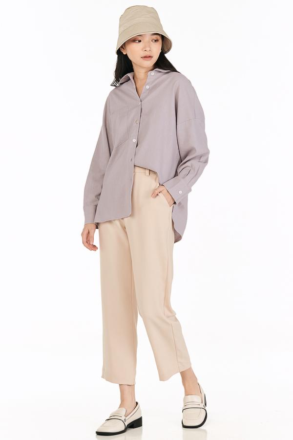 *Restock* Cooper Oversized Linen Shirt in Mist