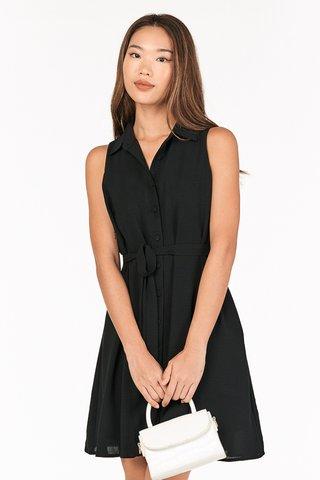 Luke Button Dress in Black