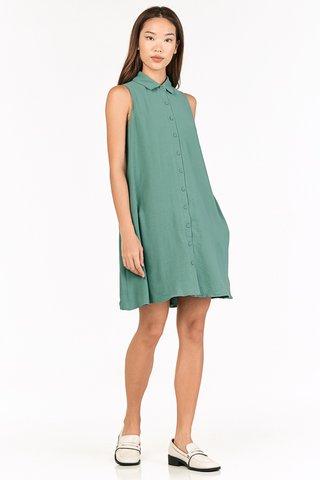 Luke Button Dress in Sea Green