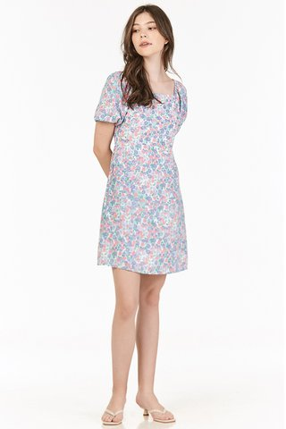 Endria Floral Square Neck Dress in Lilac