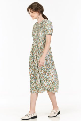 Endria Floral Ruched Midi Dress in Green