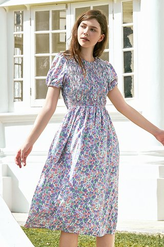 Endria Floral Ruched Midi Dress in Lilac