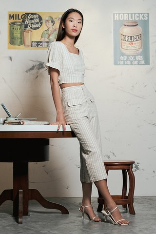 Vanda Linen Stripes Culottes in Khaki
