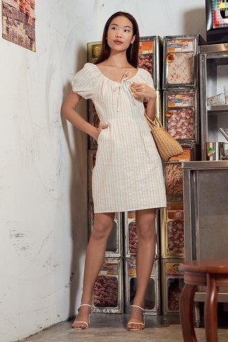 Vanda Linen Stripes Dress in Khaki