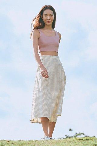 Vanda Linen Stripes Midi Skirt in Khaki