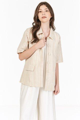 Vanda Linen Stripes Short Sleeve Blazer in Khaki