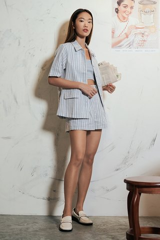Vanda Linen Stripes Shorts in Blue
