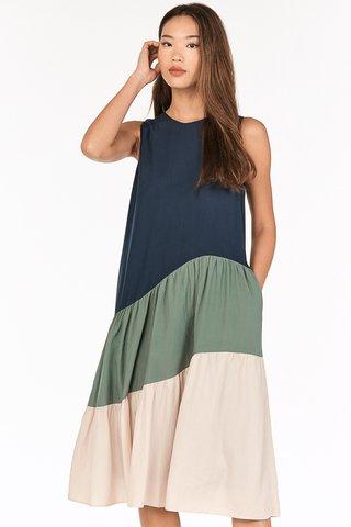 Zelina Two Way Colorblock Midi Dress in Navy
