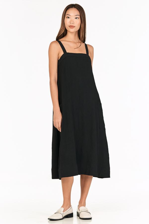 Luke Midi Dress in Black