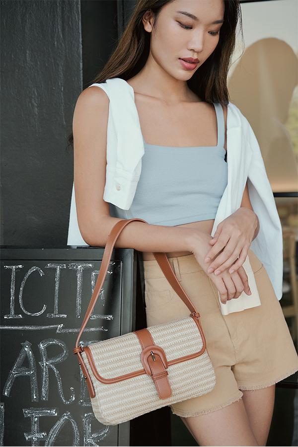Gaia Rattan Bag in Brown