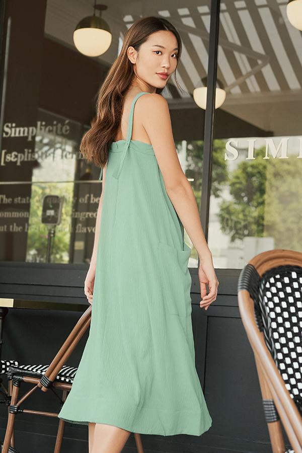 Luke Midi Dress in Sea Green