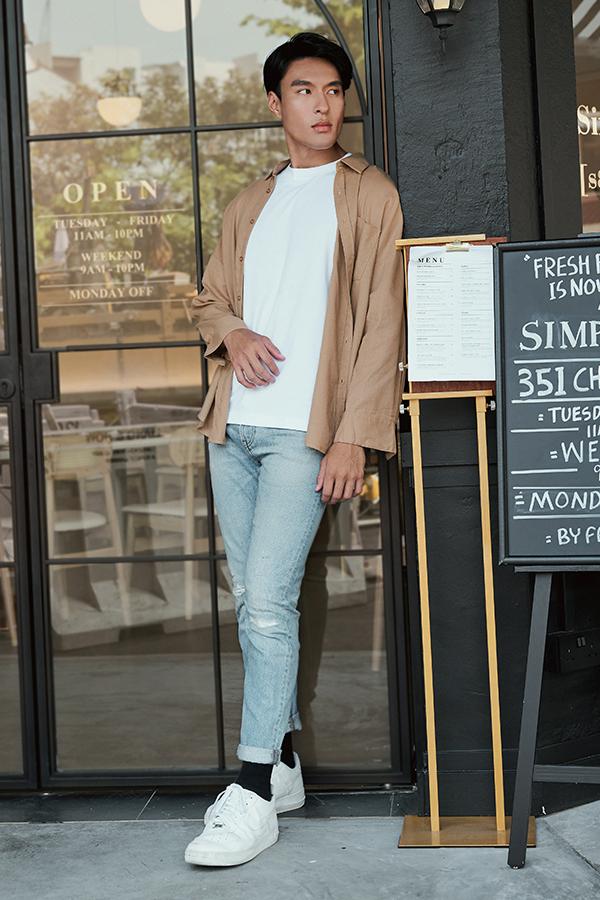 *Backorder* Men's Cooper Oversized Linen Shirt in Khaki