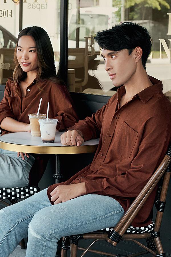 *Backorder* Men's Cooper Oversized Linen Shirt in Wood