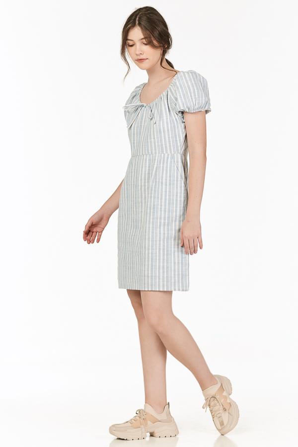 Vanda Linen Stripes Dress in Blue