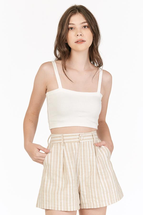 Vanda Linen Stripes Shorts in Khaki