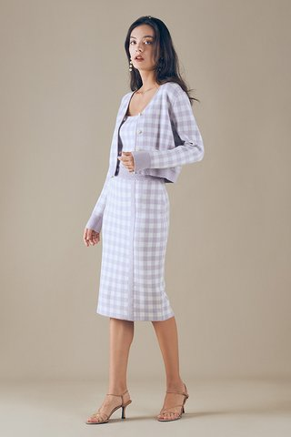 Marelle Checkered Knitted Skirt in Lilac