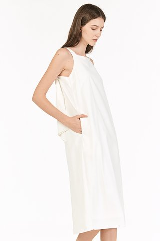 Avien Knotted Back Midi Dress in White