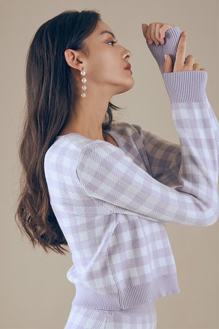 Marelle Checkered Cardigan in Lilac