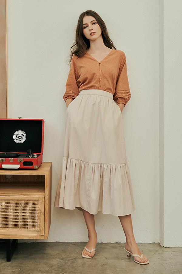Airin Midi Skirt in Cream