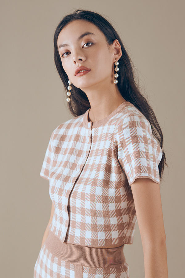 Marelle Checkered Knitted Button Top in Mocha