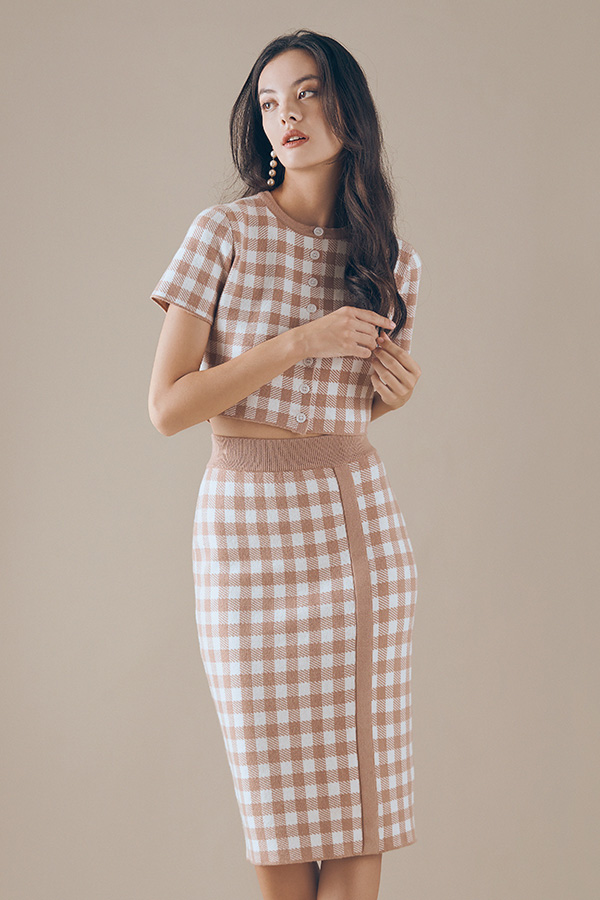 Marelle Checkered Knitted Skirt in Mocha