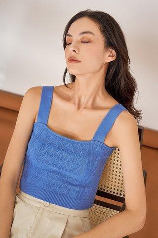 Juno Cable Knit Crop Top in Cobalt Blue