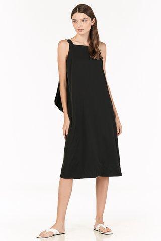 Avien Knotted Back Midi Dress in Black