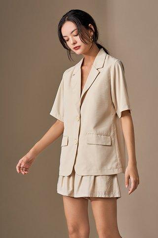 Kyran Short Sleeve Blazer in Cream