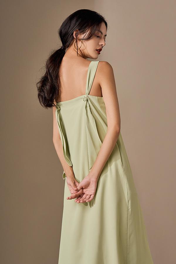 Avien Knotted Back Midi Dress in Apple Green