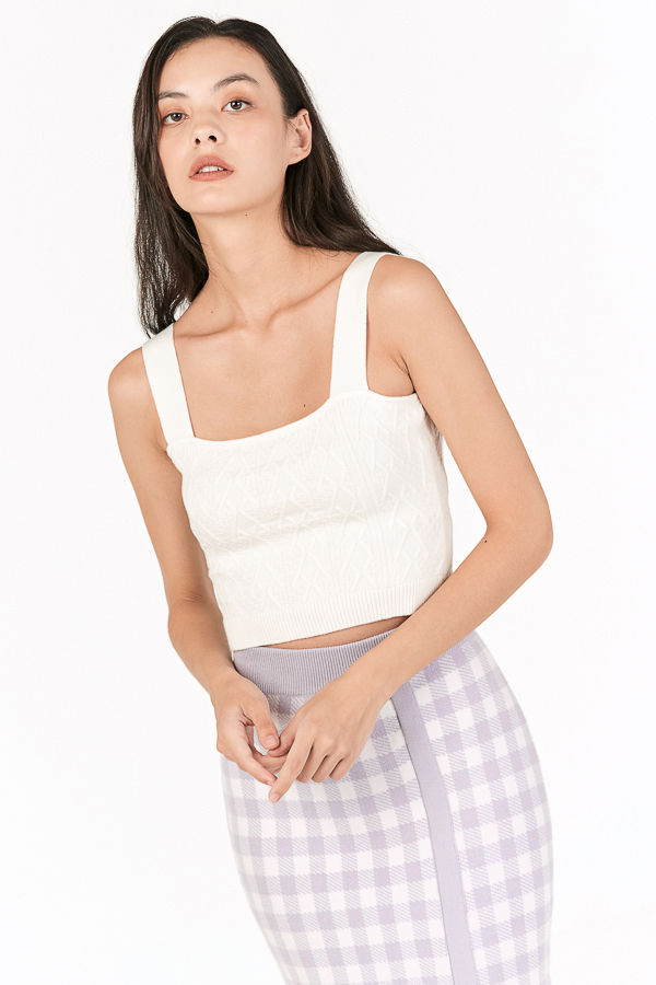 Juno Cable Knit Crop Top in White