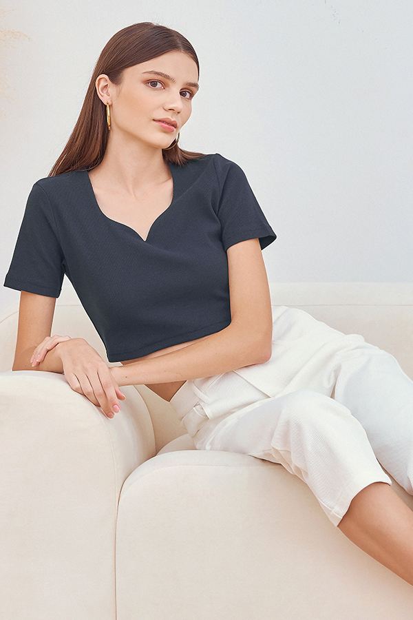 Tania Cropped Top in Navy